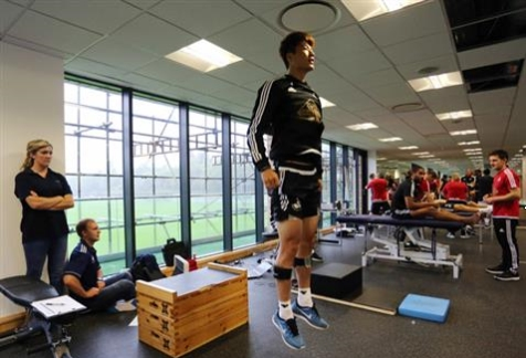 A Swansea City FC player during a pre-season gait and functional analysis with GaitSmart