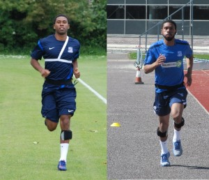 Gavin Tomlin of Southend United FC running on different surfaces