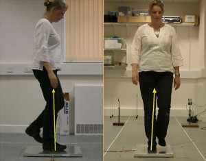 A lady walking and placing her foot on the force plate